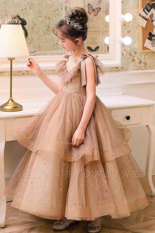 V-neck Straps Tulle Puffy Princess Flower Girl Dresses | Kids for Dress for Wedding