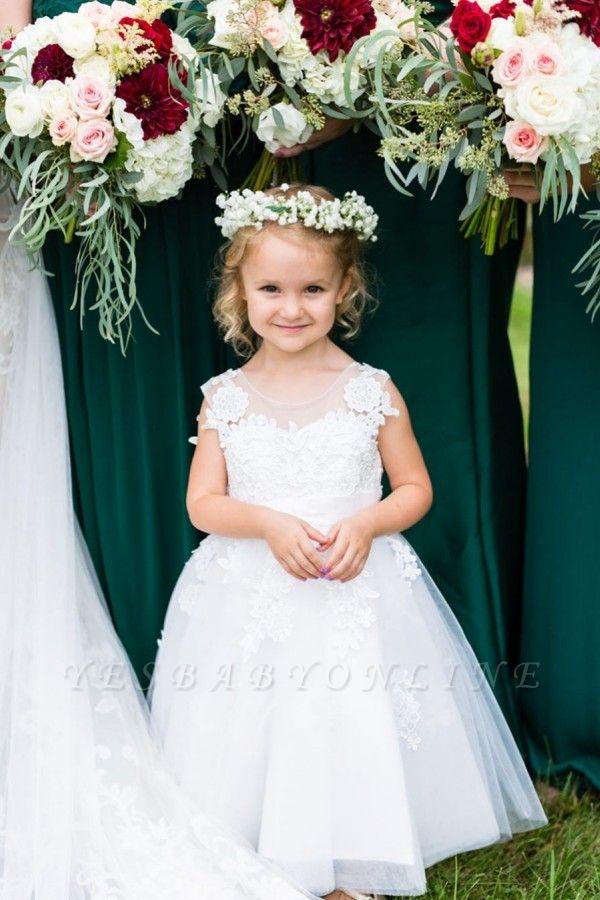 Elegant Jewel Sleeveless Lace Applique Flower Girl Dresses | Wedding Dress for Girls
