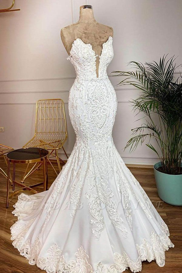 Straps V-neck Appliques Mermaid Lace Wedding Dresses   Trumpet Style Bridal Gowns