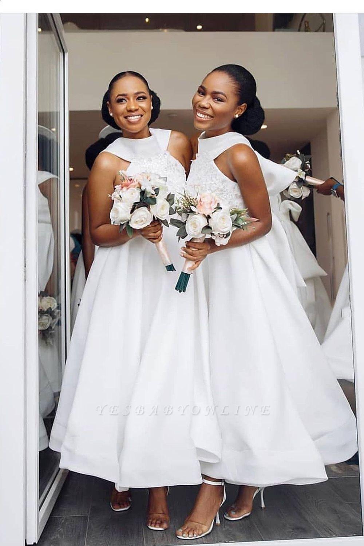 Tea Length A-line Sleeveless Elegant Bridesmaid Dresses | Affordable Maid of Honor Dresses