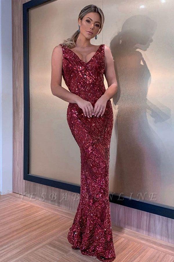 Sparkling Burgundy Straps V-Neck Sequin  Backless Sheath Floor Length Prom Dresses | Sexy Evening Dresses