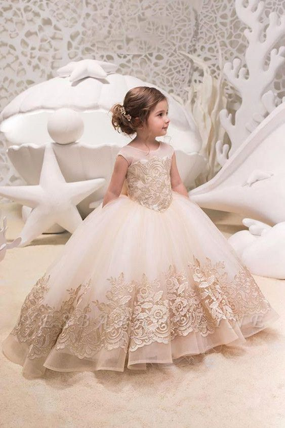 Sweet Scoop Cap Sleeve Applique Bow Ball Gown Flower Girl Dresses | Backless Puffy Little Girl Dresses For Wedding Party