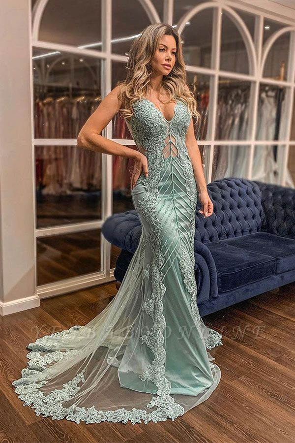Straps V-neck Sleeveless Open Back Lace Appliques Crystal Beading Mermaid Prom Dresses
