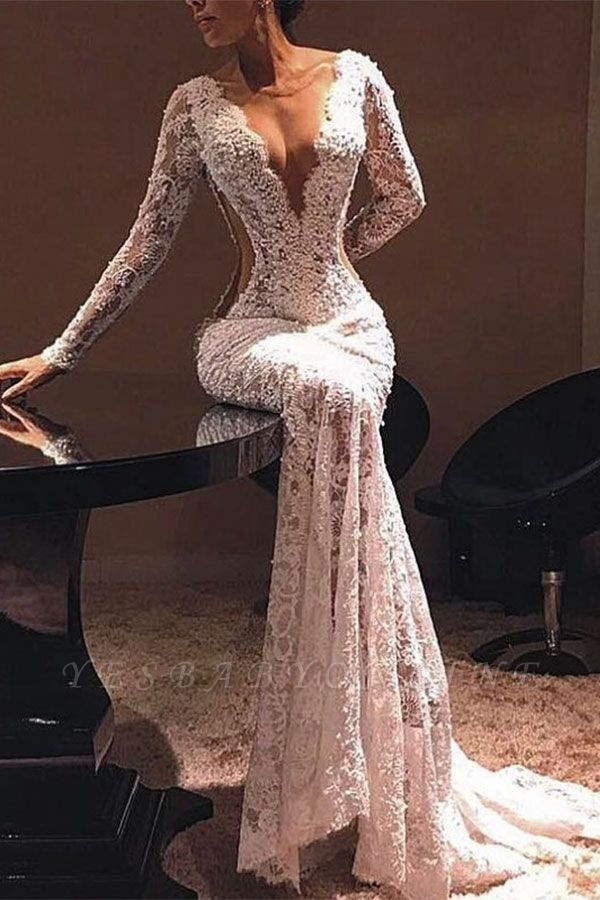 Sexy Sheer Lace Evening Dresses | V-Neck Long Sleeves Prom Dresses