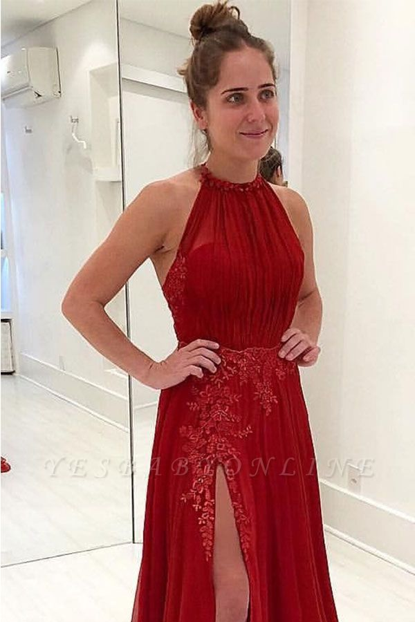 Sexy  Sleeveless Evening Gowns | Appliques Halter Split Prom Dresses