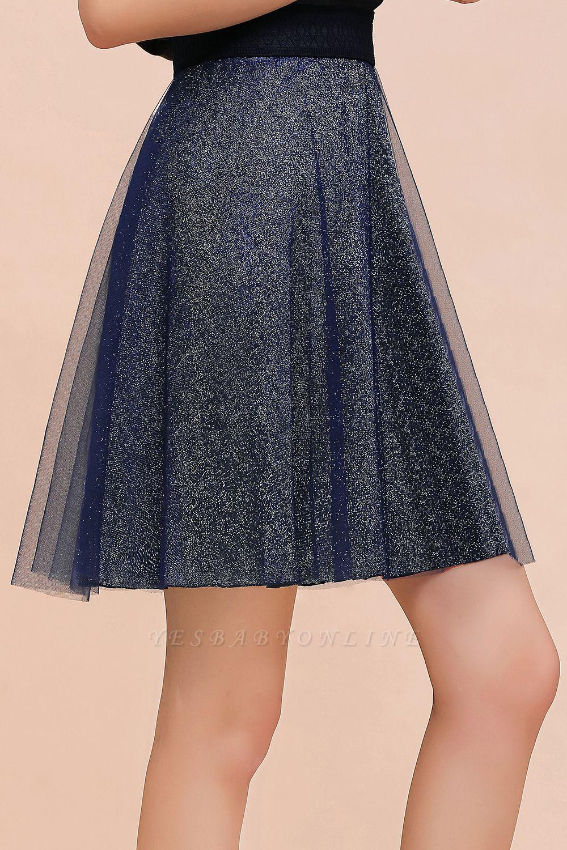 Sparkly Knee Length Metallic A-line Skirt