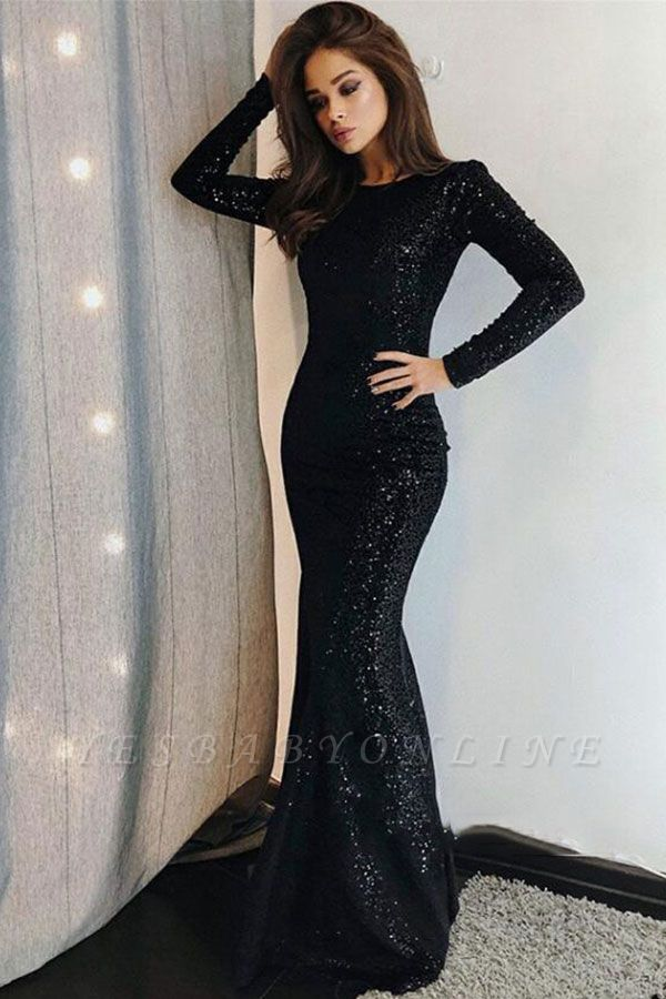 Sexy Mermaid Black Sequins Prom Dresses with Long Sleeves