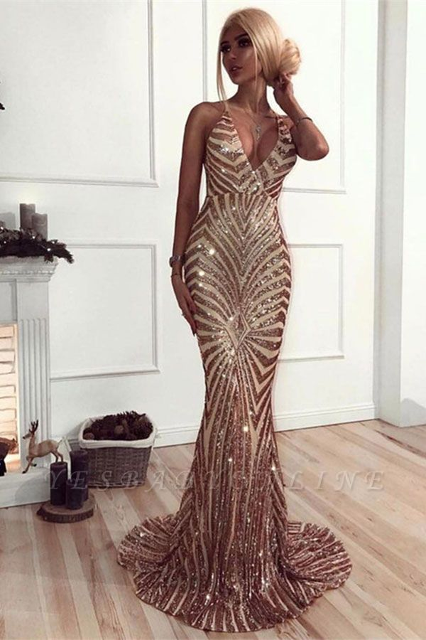 Sexy Sequins Mermaid Prom Dresses | V-Neck Crisscross Back Evening Gowns