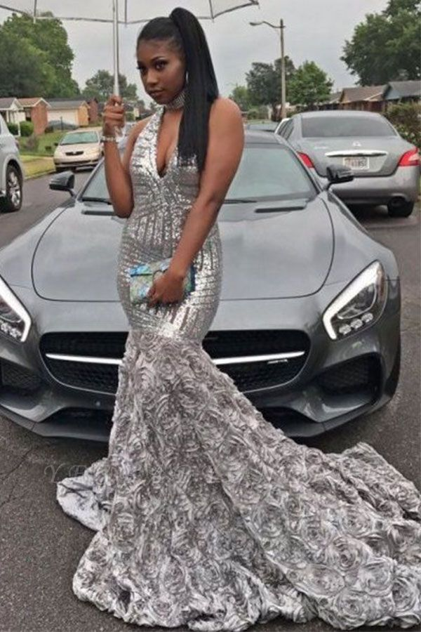 Silver Sequins Mermaid Prom Dresses | V-neck Sleeveless Flowers Evening Gowns