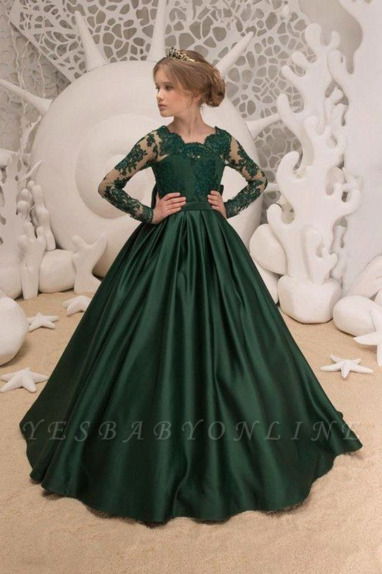 Dark Green Square Lace Long Sleeve Backless Ruffles A Line Flower Girl Dresses | Backless Sash Dress With Bow