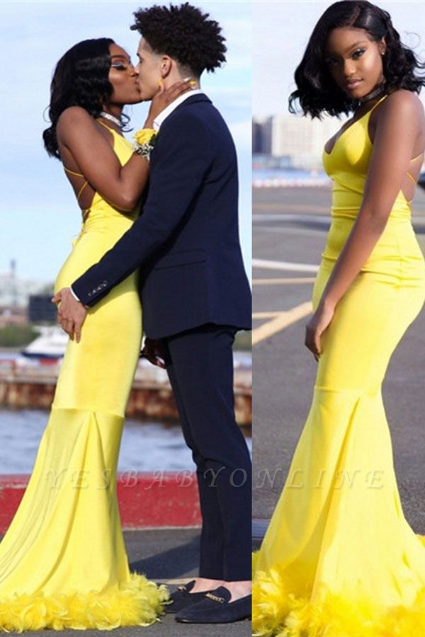 Chic Yellow Mermaid Prom Dresses   V-neck Feathers Train Party Dress