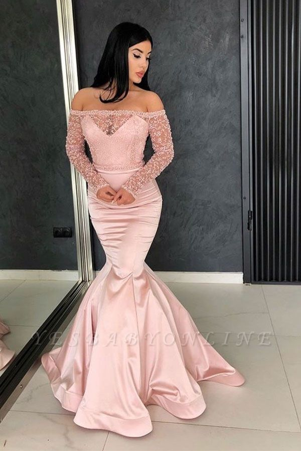 Glamorous Mermaid Off-the-Shoulder Prom Gowns | Long Sleeve Lace Evening Dresses