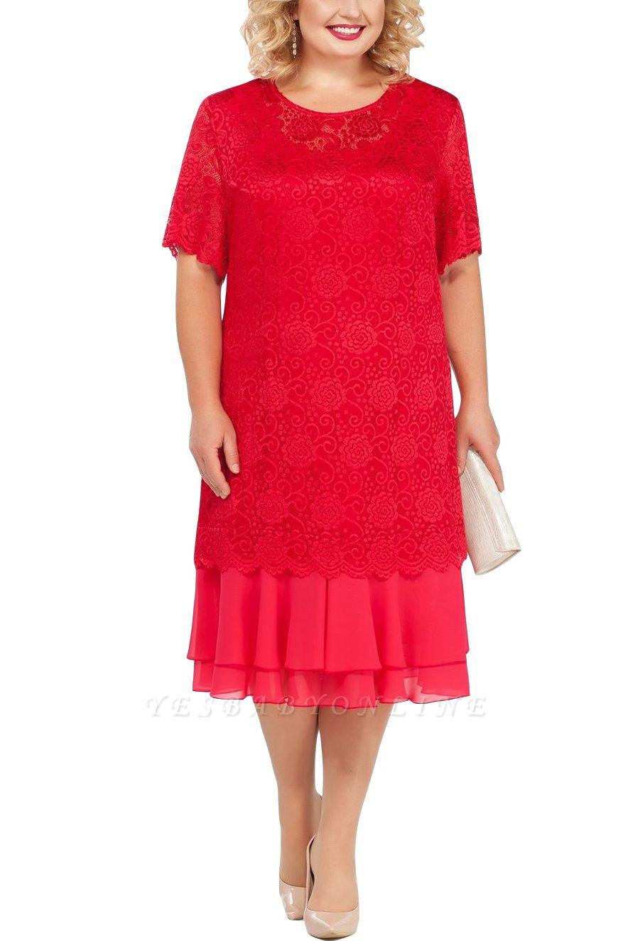 Lace Jewel Short Sleeves Tea Length Mother of Bride Dress