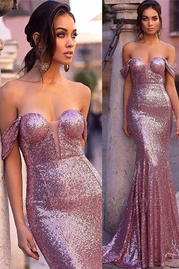 Sexy Purple Off-The-Shoulder Sequins Sexy Mermaid Long Evening Gown