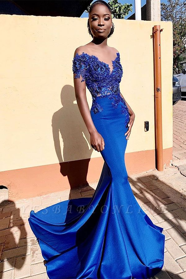 Royal Blue Bateau Short Sleeve Appliques Mermaid Ruffles Prom Dresses | Formal Evening Dresses