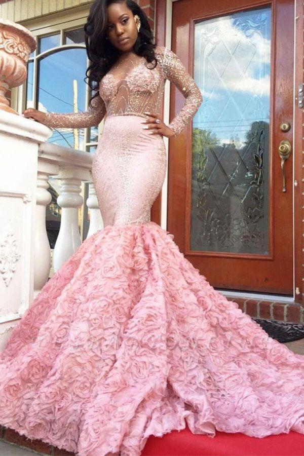 Luxury Pink Mermaid Prom Dresses Sheer Beading Long Sleeves Floral Skirt Evening Gowns
