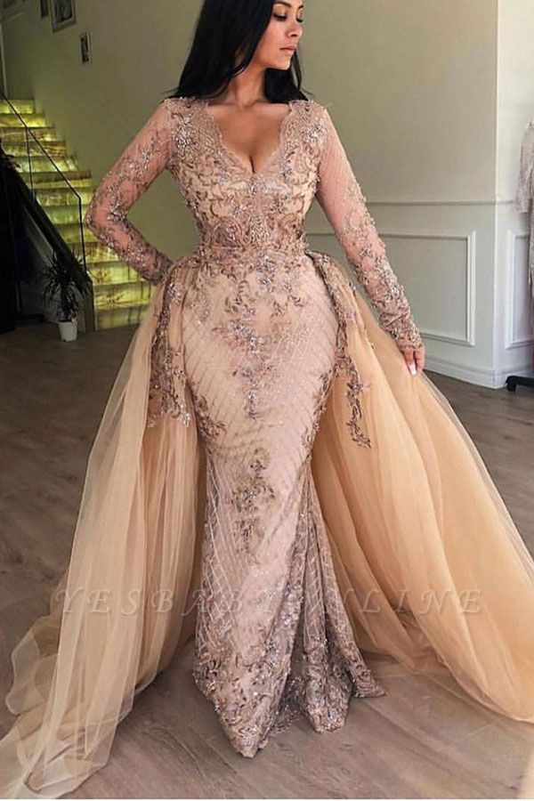 Elegant V-Neck Long Sleeves  Prom Dress |  Mermaid Applqiues Evening Dress with Detachable Skirt
