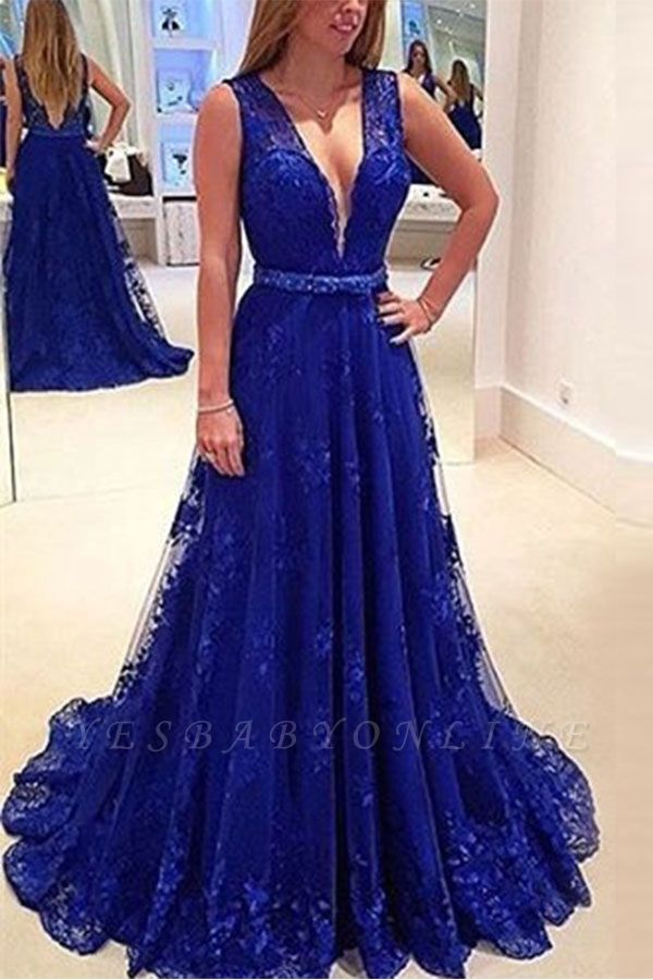 Elegant V-Neck Sleeveless Prom Dresses | Backless Royal Blue Evening Dresses