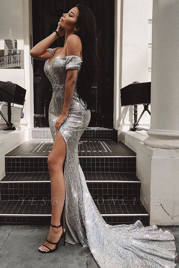 Sexy Off-the-Shoulder Sleeveless Sheath Front Split Prom Dress