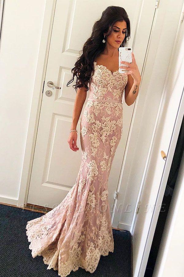 Elegant Pink Spaghetti Straps Lace Prom Dress | Open Back Mermaid Sexy Evening Dresses
