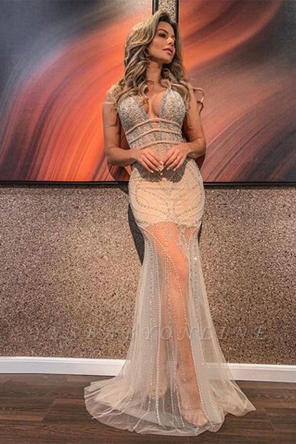 Gorgeous Straps V-neck Crystal Jewel Floor Length Sheath Prom Dresses | V-back Evening Dresses