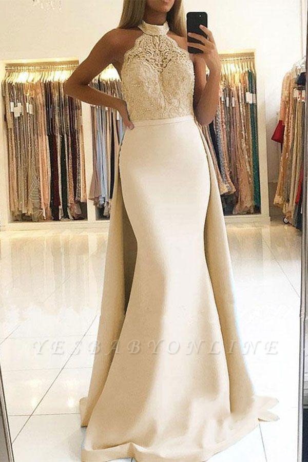 Elegant Mermaid Halter Prom Dresses   Long Lace Ruffles Evening Gowns