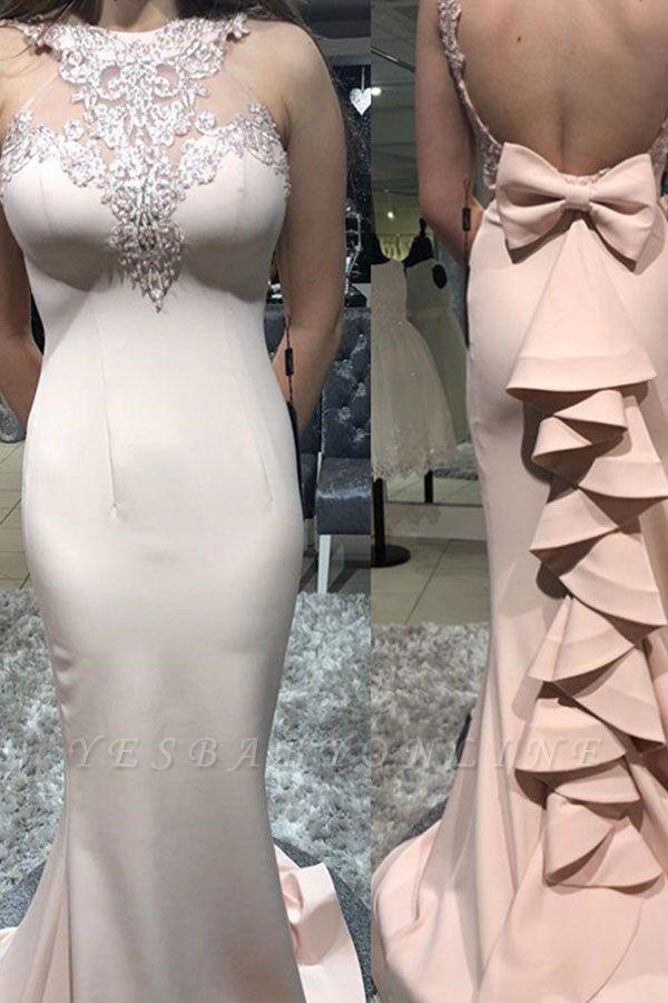 Gorgeous Sheath Sheer Straps Bowknot Ruffles Mermaid Long Prom Dersses