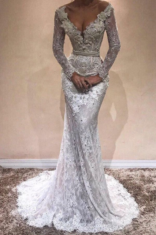 Sexy V-Neck Lace Prom Dresses | Long Sleeves Beading Evening Gowns