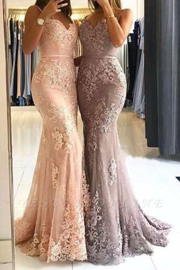 Lace Appliques Sheath Prom Dresses | Long Spaghetti-Straps Evening Gowns