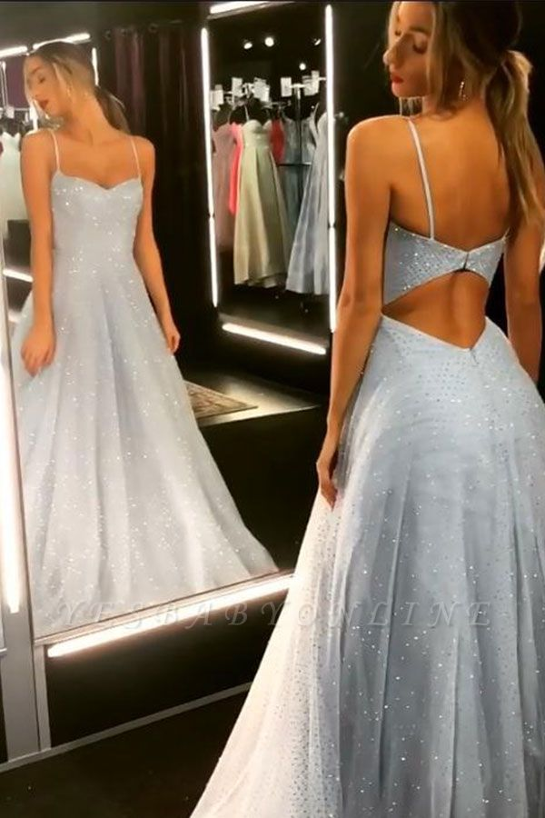 Sparkly Backless Dress  Floor Length Prom Dresses   Cheap Long Evening Gowns on Sale