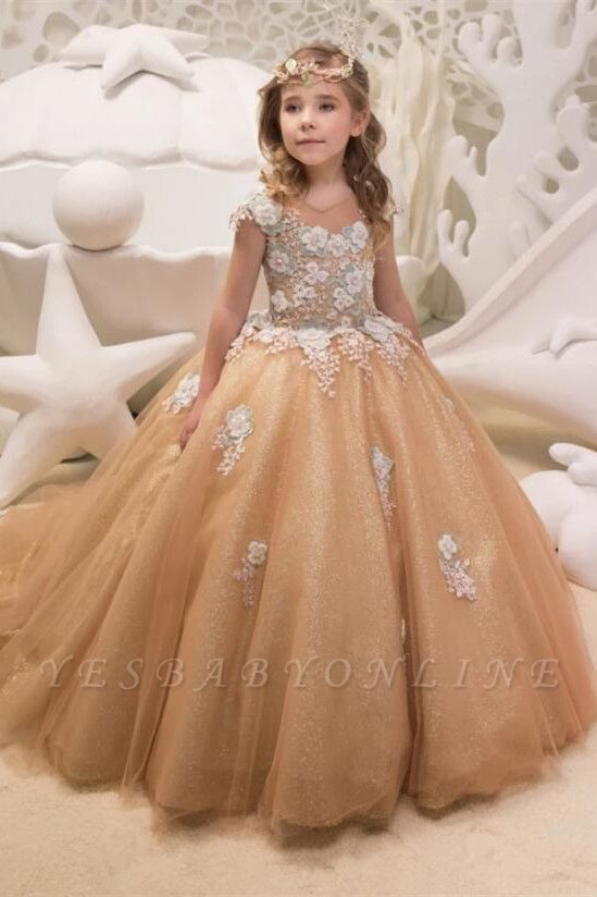 Cute Champagne Jewel Cap Sleeve Applique Pearls Ball Gown Flower Girl Dresses  | 3D Flower Ruffles Pageant Dress For Wedding Party