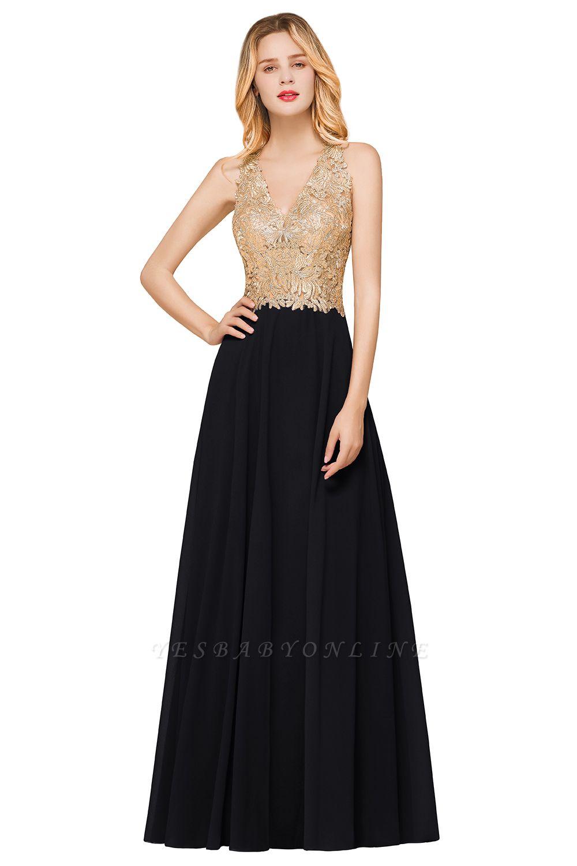 Cheap Chiffon Appliques Long Prom Dress | Affordable Floor Length A-line Evening Dresses
