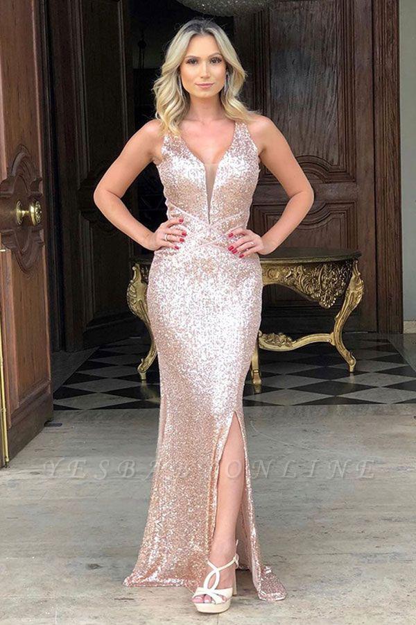 Sparkling Straps V-neck Sequin Side-slit Floor Length Mermaid Prom Dresses | Backless Evening Dresses