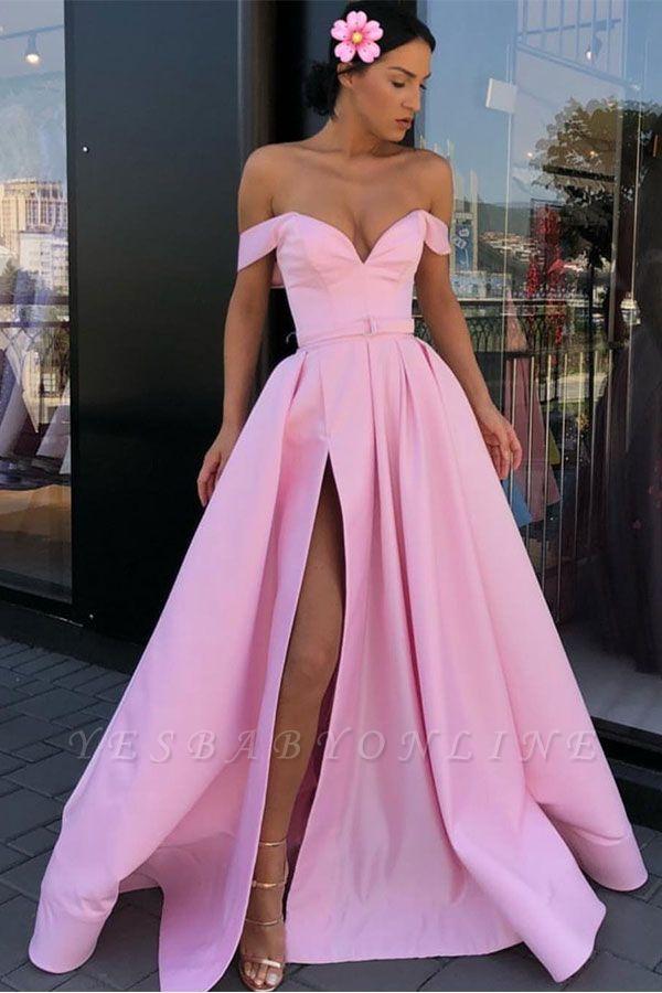 Sexy Pink Off-The-Shoulder Evening Dresses 2019 | A-Line Front Split Long Formal Dresses Online