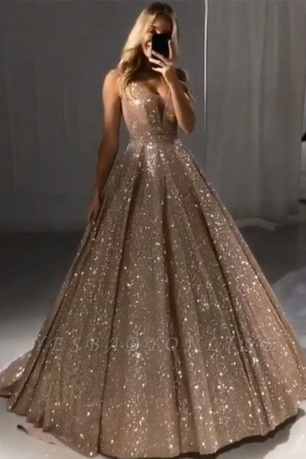 Shiny Gold Ball Gown Evening Dresses | Sexy V-Neck Sequin Prom Dresses