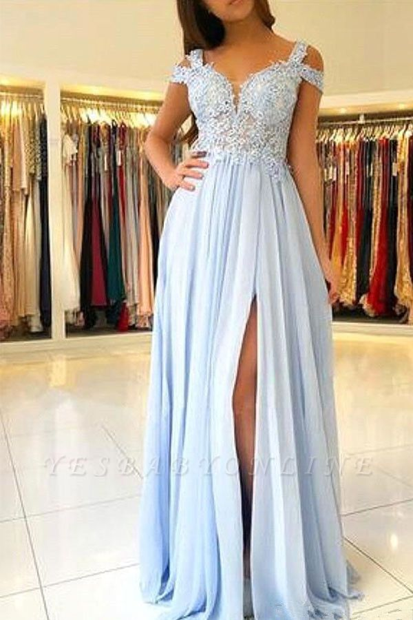 Elegant Cold Sleeves Appliques Chiffon Sky Blue Prom Dresses with Side Slit