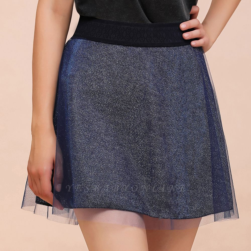 Sparkly A-line Above Knee Metallic Skirt