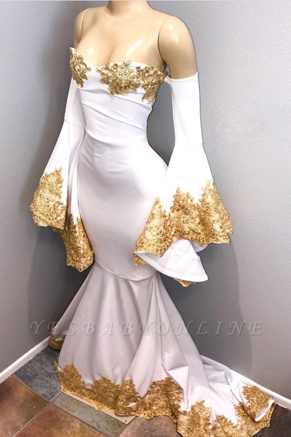 Off-the-shoulder Appliques Mermaid Prom Dresses | Long Sleeves Sweetheart Evening Gowns