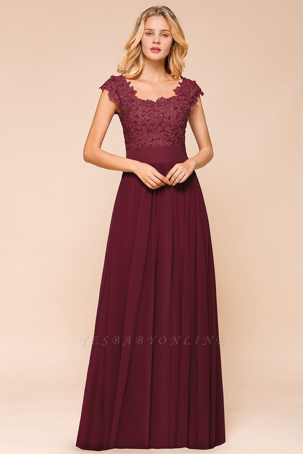 Cap Sleeve Scoop Lace Beading Floor Length Formal Evening Dresses | A Line Chiffon Sexy Prom Dresses