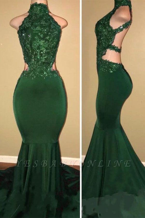 Sexy Halter Mermaid Green Prom Dress | High-Neck Backless Sleeveless Evening Dresses