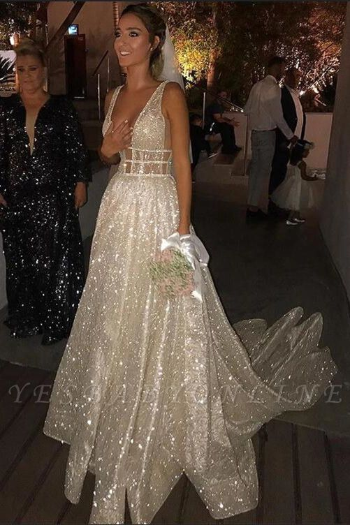Straps Deep V Neck Sleeveless Sequined Mermaid Prom Dresses | Sexy Backless Evening Gown