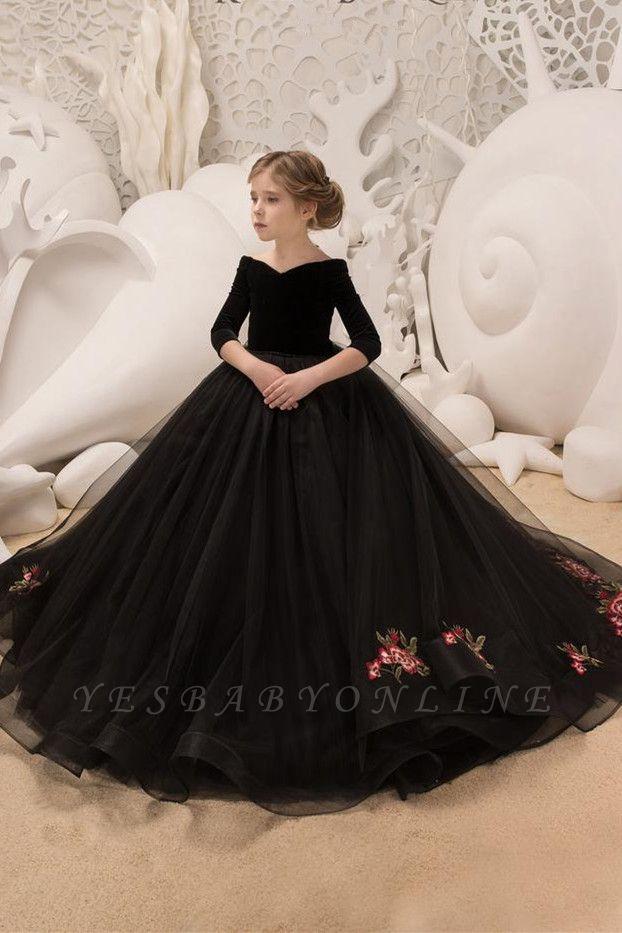 Black Princess V Neck Off The Shoulder 3/4 Sleeve Ball Gown Flower Girl Dresses | Pageant Dresses For Wedding