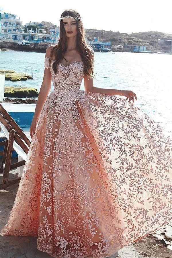 Exquisite A-Line Floral Prom Dresses | Beaded Appliques Off-The-Shoulder Evening Dresses