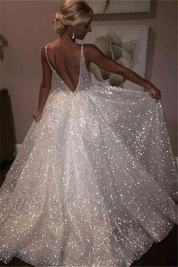 V-neck Sleeveless Long Prom Dresses | A-line Sequins White Evening Gowns
