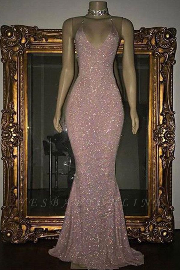 Shiny Blushing Pink Prom Dresses Sequins V-Neck Sleeveless Mermaid Evening Gowns