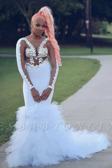 Round Neckline Long Sleeves Appliques White Mermaid Prom Dresses