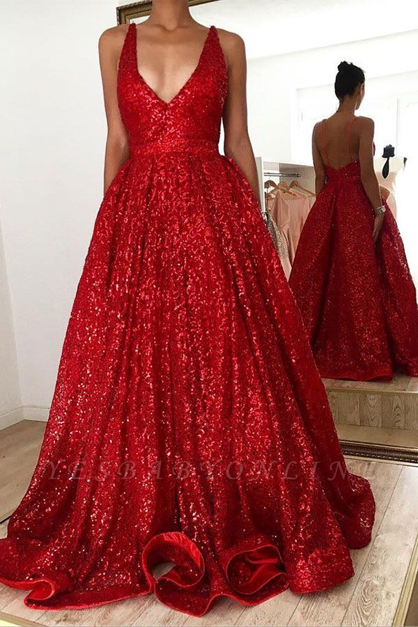 Unique Sweetheart Straps Sequined A Line Floor Length Prom Dresses | Cheap Backless Evening Dresses