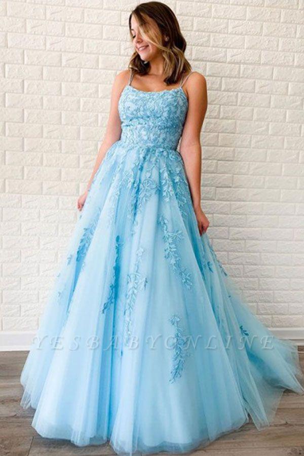 Elegant Spaghetti Strap Strapless Backless Applique Lace A Line Prom Dresses | Sleeveless Evening Dresses