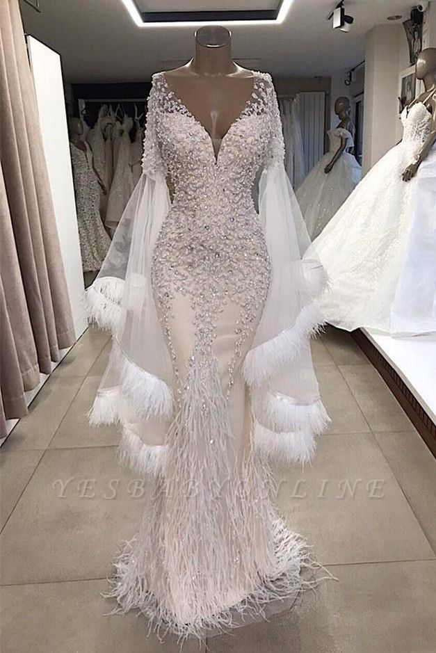 Deep V Neck Short Sleeve Applique Beading Floor Length Mermaid Prom Dresses