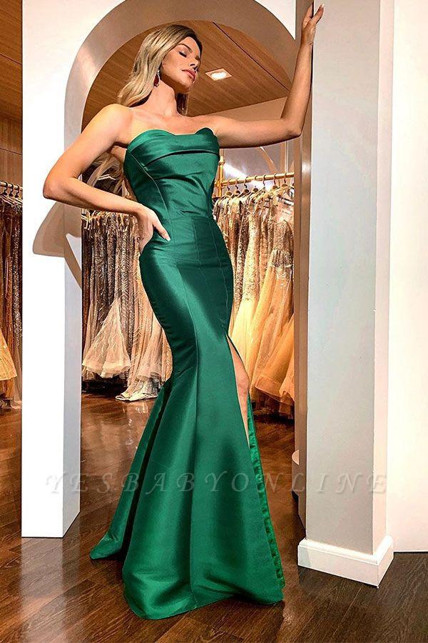 Green Strapless Front Slit Ruffles Mermaid Floor Length Prom Dresses | Formal Evening Dresses